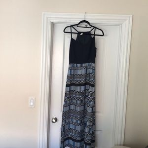 Jcrew navy and white maxi dress with side slit